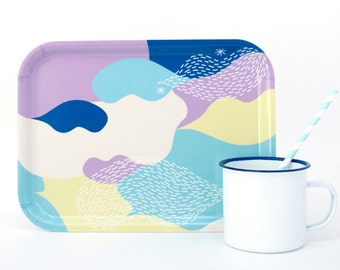 Multicolored wooden tray