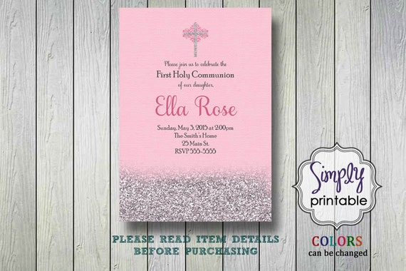 Silver Pink Girls Baptism or Communion Invite