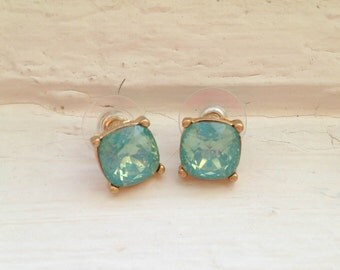 Baby blue studs, rhinestone studs, blue earrings, blue studs, jcrew earrings, jcrew studs, earrings, blue and gold earrings