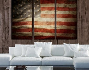 Vintage American Flag on Canvas - 3 panel set. Perfect for any home or office. USA Flag, Vintage flag art, American flag wall art, USA print