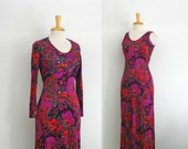Empire waist 1960s psychedelic floral print maxi dress size small or xsmall