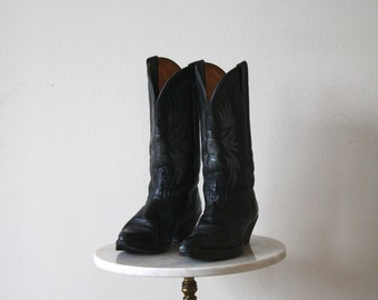 EAGLE Cowboy Boots - Women's 10 - Black Leather BOULET - 1980s VINTAGE