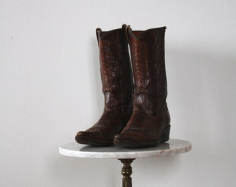 Cowboy Boots - Women's 10 - DETAILED Brown Leather Floral - 1980s VINTAGE