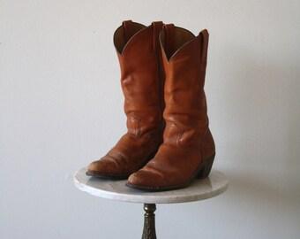 FRYE Boots - Men's 10 10.5 - Cowboy Brown Leather - 1970s VINTAGE