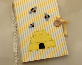 Summer bees yellow stripe notebook cover