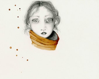 Evocative Portrait of a Girl Fine Art Giclee Print of My Original Art with Coffee Staining Art Brown Wall Art Unique Face Brown Wall Art