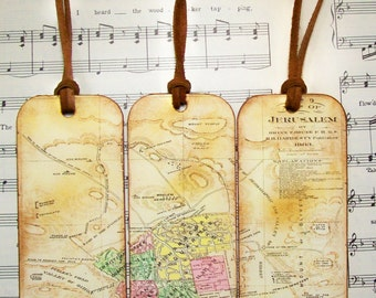 Historical Map Bookmarks Set of Biblical Jerusalem 1883 Gifts, Antiqued Map Bookmark Map Bible Map Enthusiasts Map Lovers