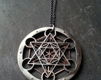 Large Metatron's Cube Pendant - triple layer sterling silver, oxidised copper and 9ct gold - Handcrafted Sacred Geometry Jewellery