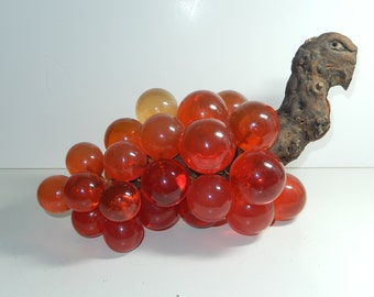 Lucite Grapes-1970s home decor-acrylic Grapes on Driftwood-Large grape cluster Orange mid century fake fruit-coffee table decor mod lucite