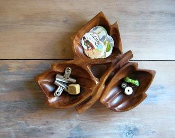 Vintage Monkey Pod Snack Tray, Bowl, Maple Leaf