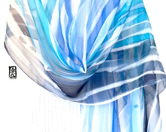 Hand Painted Silk Shawl Scarf, Tranquility Zen Blue Water Scarf,  Blue Silk Scarf, Silk Scarves Takuyo. 22x90 inches. Made to order.
