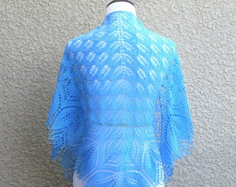 Hand knit shawl in blue ice blue lace scarf knitted wrap gift for her christmas gift