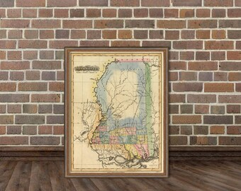 Mississippi  map - Vintage map of Mississippi  fine print