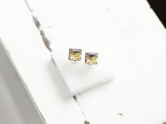 Princess Cut Crystal Earrings | Square Stud Earrings | Luminous Earrings | Tiny Earrings | Everyday Jewelry | Multi Color Swarovski Earrings