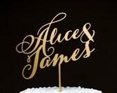 Wedding Cake Topper - Custom Names - Gold- Soirée Collection