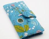 Vegan Wallet, Womens Clutch Wallet, Organic Fabric, Meadow