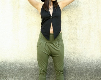 Drop Crotch Pants, Green Pants, Yoga pants, Loose Pants, Low crotch pants, Jersey pants, Jogger Pants