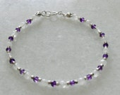 Moonstone and amethyst ladies bracelet with sterling silver