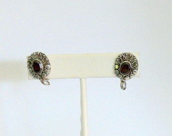 silver and garnet post earrings