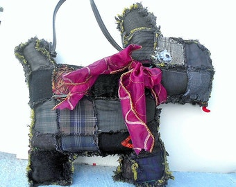 Black (Muted Colors) Scruffy Scottie Puppy Purse Made of Ragged Edge Various Shades of Black & Dark Muted Colors Quilt Patches.  OOAK 199.00