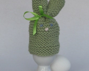 Easter bunny egg cozy - pistachio green hand knitted with bow