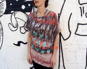 Plus Size Shirt,  Asymmetric Shirt, Tunic Shirt, Oversize Shirt, Red Shirt, Designers Blouse, Summer Shirt, Red and Blue
