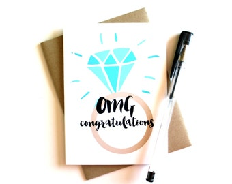 Engagement Card - 'OMG Congratulations', Engagement, OMG, Congratulations Card, Diamond Ring, Bling