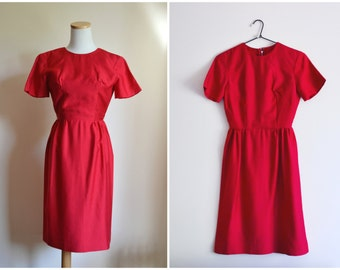 50s Red Dress - metal zipper, BETTY LANE ORIGINAL, wiggle, rockability, union label, xxs or teen girl