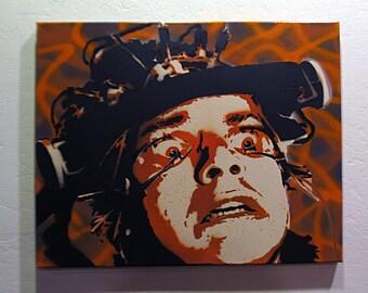 Spray Paint stencil graffiti art on canvas - A Clockwork Orange Alex Eyes