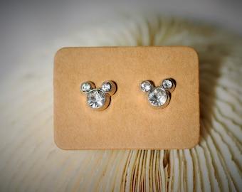 APRIL Birthstone - Diamond with Silver Stud Earrring ~ 8mm - Girls / Casual / Cutie