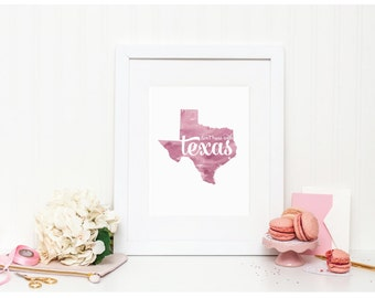 """Texas Watercolor Art Print - """"Don't Mess with Texas"""" - Mirabelle Creations"""