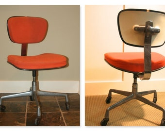 Vintage Herman Miller Eames Secretarial Orange Chair W/ Casters Wheels Rare  Authentic Original Components Ready