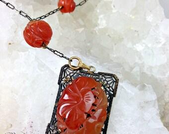 Art Deco Carved Carnelian Necklace, Antique Chinese Carved Carnelian Filigree Necklace,