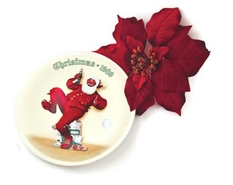 """Christmas Collectible """"Jolly Old St.Nick"""" Norman Rockwell Plate  Pepsi Santa 1989"""