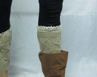 Lace Knitted Boot cuffs - Knit Leg Warmers - Leg Warmers - legwear fashion--  lace leg warmers women and teens -Tan - white- greenish gray