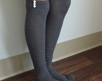 Boot Socks : Grey Knee High Socks with Ivory Iridescent Buttons