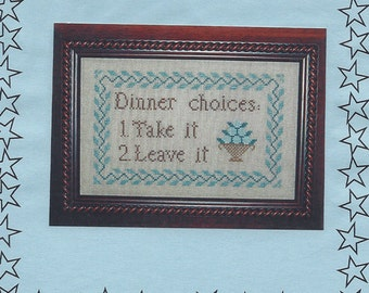 """Clearance - """"Dinner Choices"""" Counted Cross Stitch Chart by Glory Bee"""