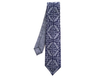 Blue on Blue Screenprint Chambray Wedding Necktie, Silkscreen Tie
