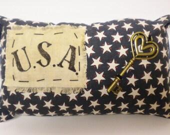 USA Mini Pillow, Accent Pillows, Primitive Americana Decor