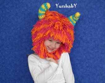 Monster Hat - Hot Pink and Orange Monster Hat with Horns - Unique Winter Hat