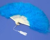Vintage, Turquoise, Blue, Marabou Feather, Celluloid, Folding Hand Fan