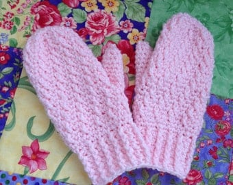 Crochet Mittens, Pink Mittens, Women's Mittens, Winter Accessories, Women's Accessories