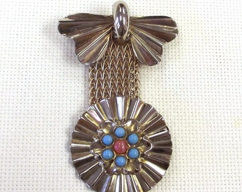 Medalion Faux Stone Brooch - Mid Century Costume Jewelry - Medal Style Pin