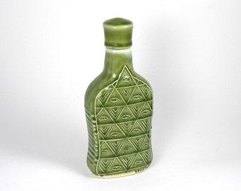 Flask Whiskey Bottle Decanter Illuminati  Design in Glass Green