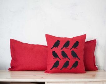 Hostess gift Holiday pillow. Red pillow Birds handpainted. Red Home Decor accent pillow.Toss Pillow .Accent Pillows bird 0139