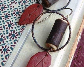 Roots &Twigs earrings- polymer clay leaves. indigo chestnut patina hoops. twig beads. fall autumn earrings. nature inspired. Jettabugjewelry