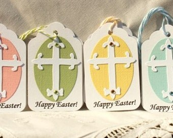 Easter Gift Tags - Set of 8 Handmade Tags - Religious Tags - Baptism Tags - Faith Tags