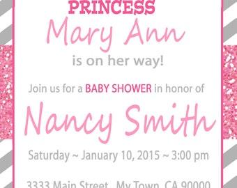 Princess Crown Baby Girl Shower invitations or  birthday printable file