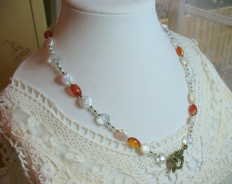 Carnelian Necklace, Fresh Water Pearl Necklace, Carnelian Gemstone, Elegant Eyeglass Holder, Carnelian jewelry, Orange Necklace, Coin Pearl