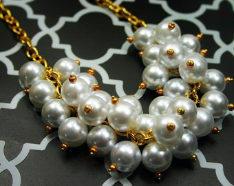 SALE! Chunky Pearl Cluster Necklace, White & Gold Jewelry, big pearl necklace, big pearl jewelry, Crew Necklace, Preppy White necklace,white